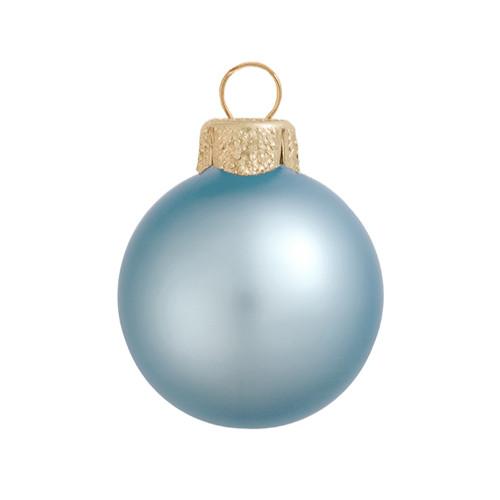 "6ct Matte Sky Blue Glass Ball Christmas Ornaments 4"" (100mm) - IMAGE 1"