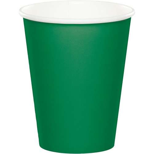 Club Pack of 240 Emerald Green Disposable Paper Drinking Party Tumbler Cups 9 oz. - IMAGE 1