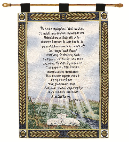 "Psalm Religious Verse Cotton Wall Art Hanging Tapestry 36"" x 26"" - IMAGE 1"