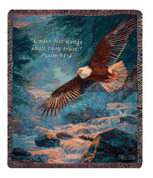 """Blue and Brown American Majesty Eagle Inspirational Psalm Tapestry Throw Blanket 50"""" x 60"""" - IMAGE 1"""