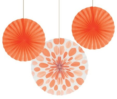 """Club Pack of 18 Sunkissed Orange Dots Hanging Tissue Paper Fan Party Decorations 12"""" & 16"""" - IMAGE 1"""