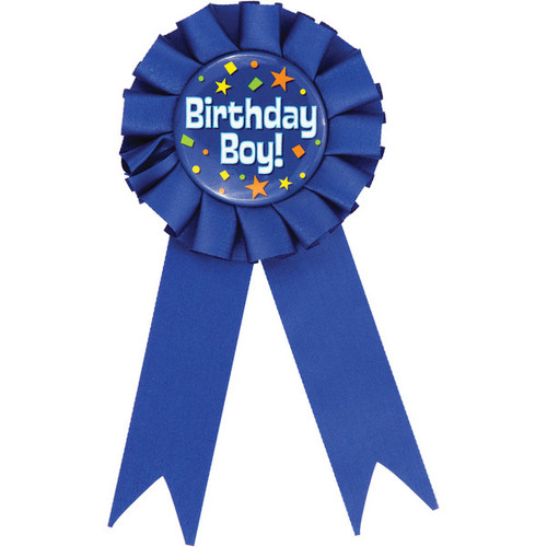 """Club Pack of 12 Cobalt Blue and White """"Birthday Boy"""" Award Ribbons 6.25"""" - IMAGE 1"""
