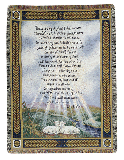 "Religious Lamp 23rd Psalm Bible Verse Tapestry Throw Blanket 50"" x 60"" - IMAGE 1"