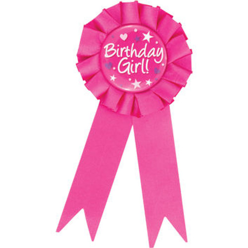 """Club Pack of 12 Fuchsia Pink and White """"Birthday Girl"""" Award Ribbons 6.25"""" - IMAGE 1"""