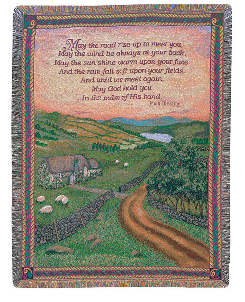 "Irish Blessing Emerald Isle Countryside Tapestry Throw Blanket 50"" x 60"" - IMAGE 1"