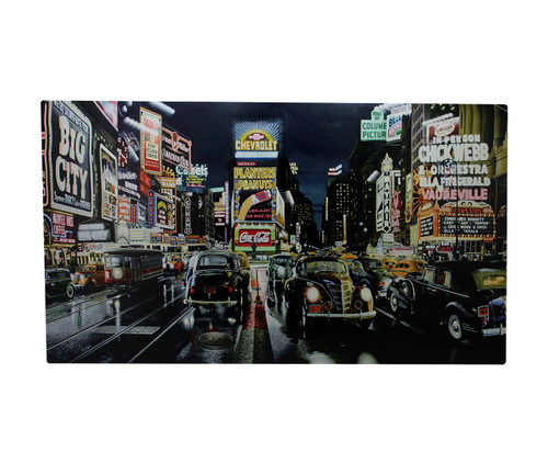"""LED Lighted NYC Times Square and Classic Cars Canvas Wall Art 15.75"""" x 23.75"""" - IMAGE 1"""