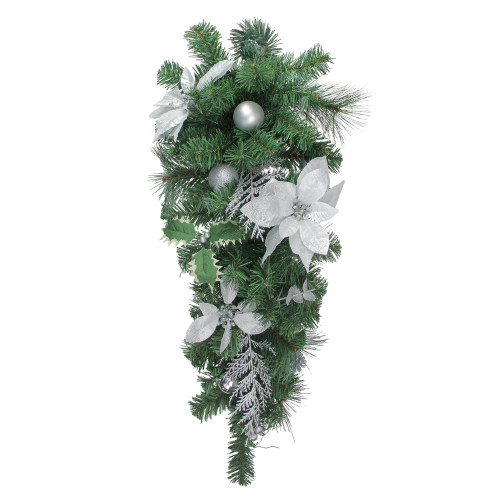 "32"" Silver Poinsettia and Pinecone Artificial Christmas Teardrop Swag - Unlit - IMAGE 1"