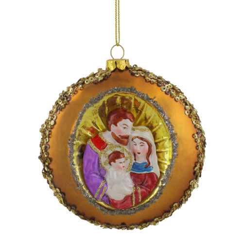 """4"""" Joseph, Mary and Baby Jesus Sequin Religious Glass Disc Christmas Ornament - IMAGE 1"""