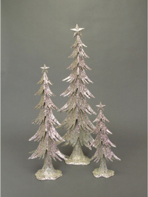 """Set of 3 Winter's Blush Silver Glittered Table Top Christmas Trees 16"""" - 31"""" - IMAGE 1"""