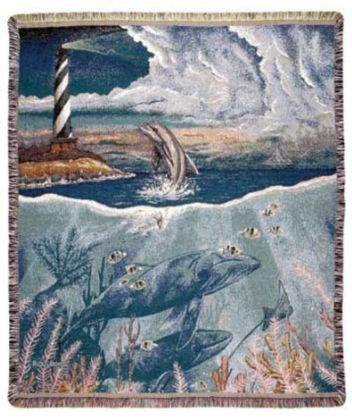 """Dolphins Lighthouse Tapestry Throw Blanket 50"""" x 60"""" - IMAGE 1"""
