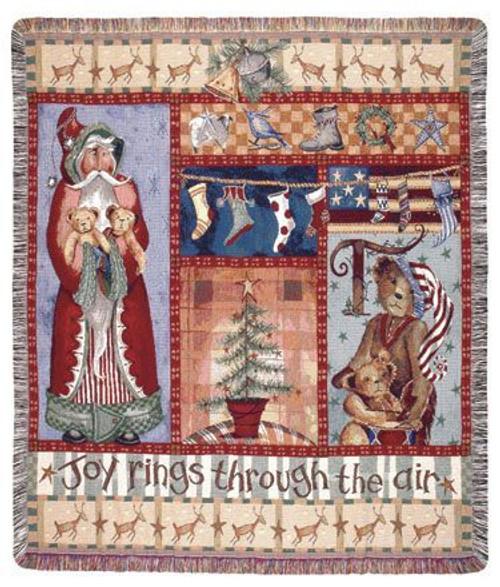 "Joy Rings Thru the Air Christmas Folk Art Tapestry Throw Afghan 50"" x 60"" - IMAGE 1"
