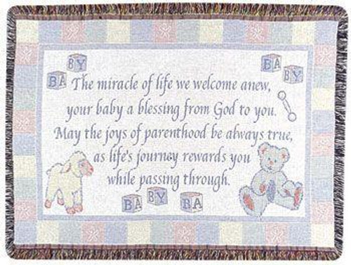 """New Baby Welcome Poem Celebration Afghan Throw Blanket 40"""" x 50"""" - IMAGE 1"""
