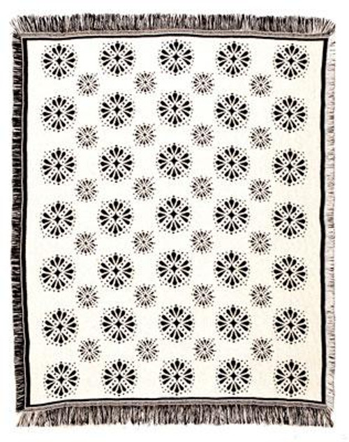 "Black and White Starburst Afghan Throw Blanket 50"" x 60"" - IMAGE 1"