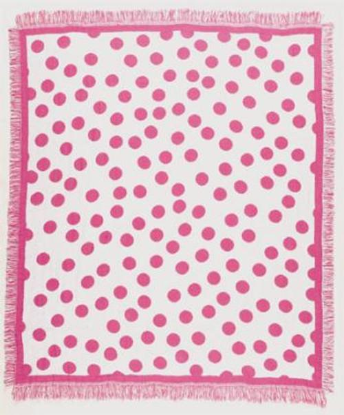 "Pink Polka Dots Girly Teen Afghan Throw Blanket 50"" x 60"" - IMAGE 1"