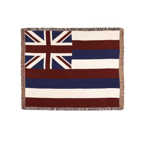 "60"" Rectangular Tapestry Throw Blanket With Fringe Border ""Hawaii  State Flag"" Inspired Design - IMAGE 1"