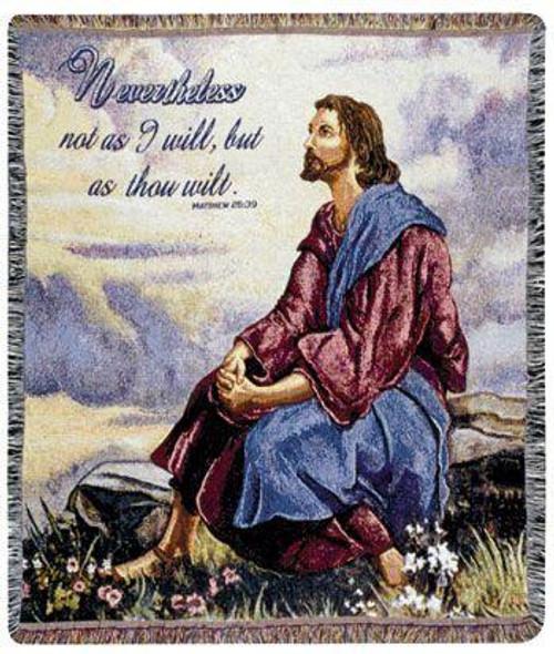 """As Thou Wilt Matthew 25:39 Jesus Bible Verse Tapestry Throw Blanket 50"""" x 60"""" - IMAGE 1"""