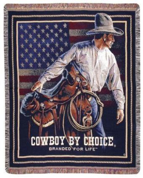 "Beginning Trail Cowboy Saddle American Flag Tapestry Throw Blanket 50"" x 60"" - IMAGE 1"