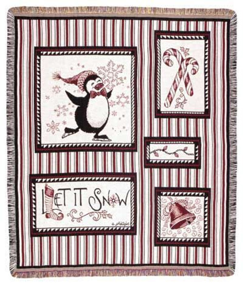 """Snow Penguins Christmas Holiday Tapestry Throw 50"""" x 60"""" - IMAGE 1"""