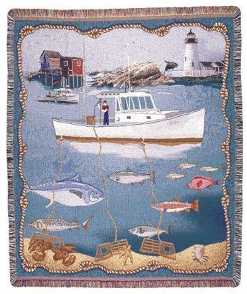 """New England Fishing Lighthouse Tapestry Throw Blanket 50"""" x 60"""" - IMAGE 1"""