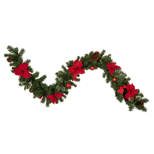 """6' x 9"""" Red Pre-Decorated Poinsettia and Pine Cone Artificial Christmas Garland - Unlit - IMAGE 1"""