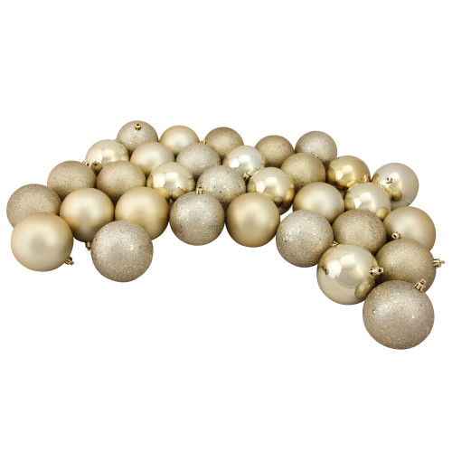 """32ct Champagne Gold Shatterproof 4-Finish Christmas Ball Ornaments 3.25"""" (80mm) - IMAGE 1"""