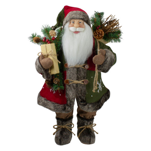 "25"" Brown and Red Standing Santa Claus Christmas Figurine with Snowflake Jacket - IMAGE 1"