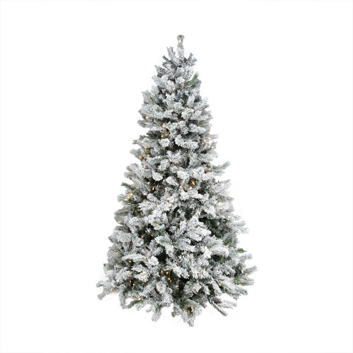 9' Pre-Lit Medium Flocked Victoria Pine Artificial Christmas Tree - Dual Color LED Lights - IMAGE 1