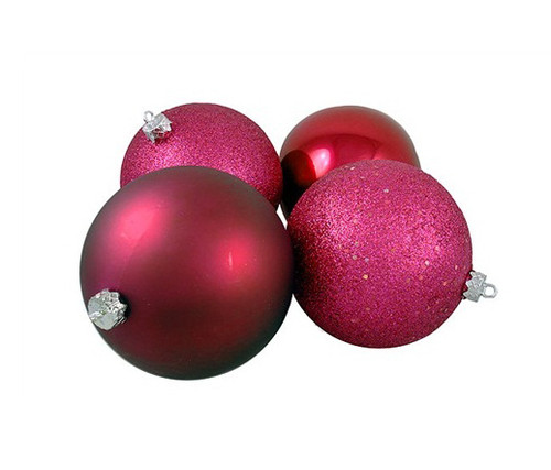 """4ct Red Raspberry Shatterproof 4-Finish Christmas Ball Ornaments 6"""" (150mm) - IMAGE 1"""