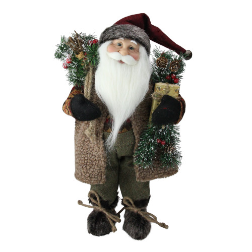 """16"""" Country Rustic Standing Santa Claus Christmas Figure with Present - IMAGE 1"""