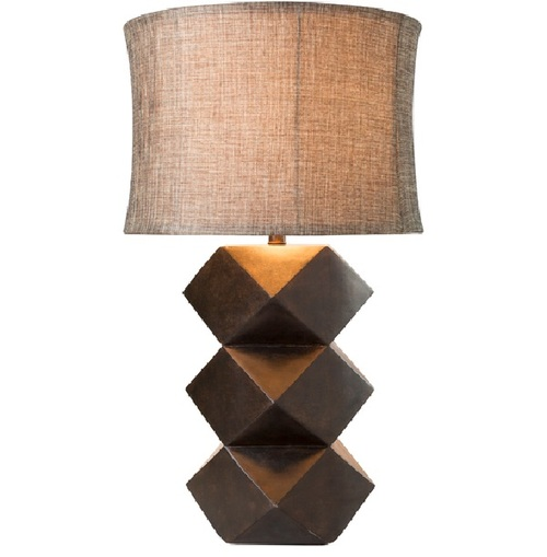 """30"""" Makena Chunky Brown Stacked Look Table Lamp with Matching Drum Shade - IMAGE 1"""