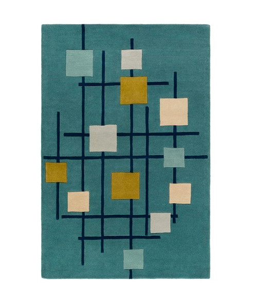 6' x 9' Sailing Breeze Away Blue and Gold Square Wool Area Throw Rug - IMAGE 1