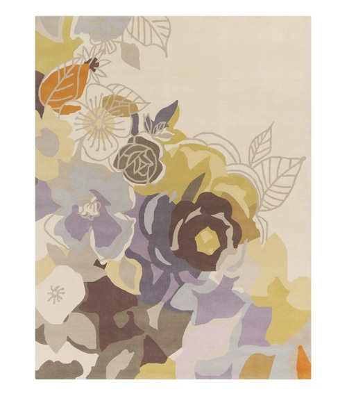8' x 11' Pale Purple and Tea Green Floral Hand Tufted Rectangular Wool Area Throw Rug - IMAGE 1