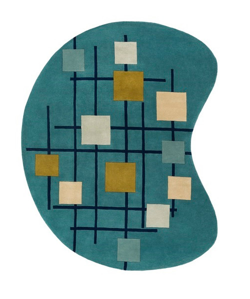 6' x 9' Sailing Breeze Away Blue and Gold Kidney Wool Area Throw Rug - IMAGE 1
