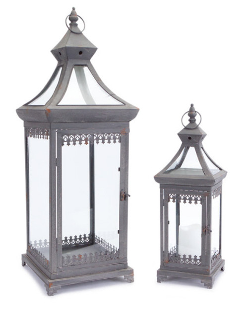 "Set of 2 Brocade Bourgeoisie Weathered Metal and Glass Pillar Candle Holder Lanterns 29"" - IMAGE 1"