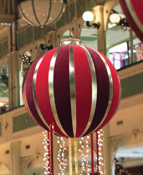 "60"" Pre-Lit Red and Gold Inflatable Commercial Outdoor Christmas Ball Ornament - IMAGE 1"