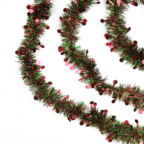 """50' x 2.5"""" Shiny Red and Green Tinsel Artificial Christmas Garland - Unlit - IMAGE 1"""