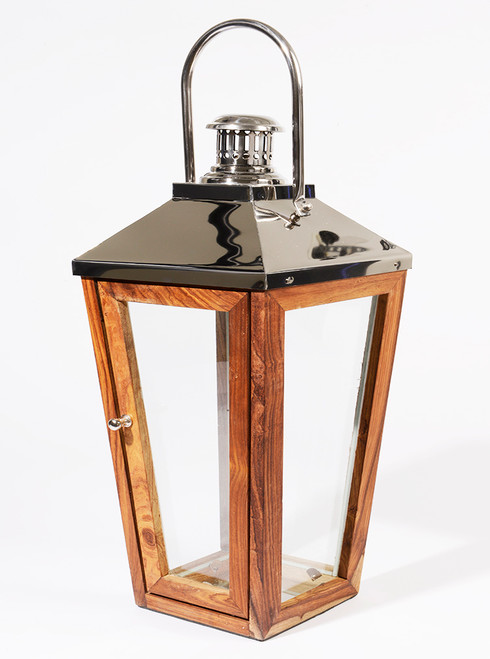"""24.75"""" Beach Day Over-Sized Stainless Steel and Sheesham Wood Modern Pillar Candle Lantern - IMAGE 1"""