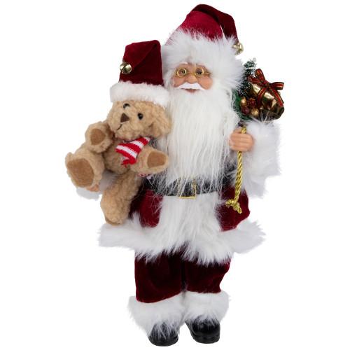 "12"" Traditional Santa Claus Christmas Figure with Teddy Bear and Gift Bag - IMAGE 1"