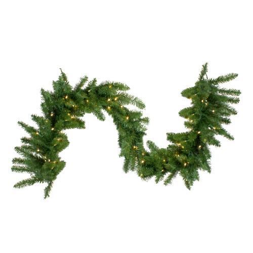 25' x 18 Pre-Lit Buffalo Fir Commercial Artificial Christmas Garland -  Warm White LED Lights - IMAGE 1
