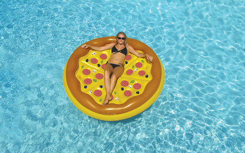 "70"" Inflatable Brown and Yellow Pizza Round Swimming Pool Raft Lounger - IMAGE 1"