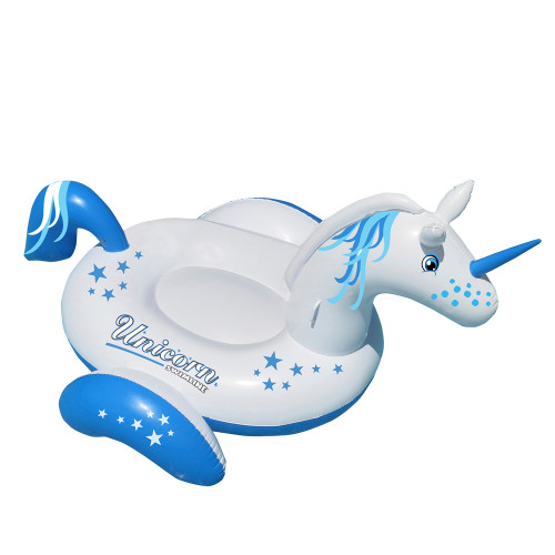 "64"" Inflatable Blue and White Giant Magical Unicorn Swimming Pool Ride-On Lounge - IMAGE 1"