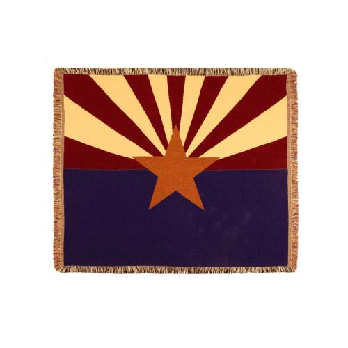"60"" Rectangular Tapestry Throw Blanket With Fringe Border ""Arizona State Flag"" Inspired Design - IMAGE 1"
