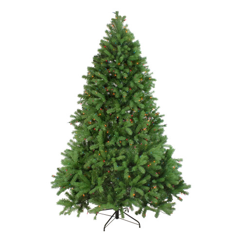 6.5' Pre-Lit Noble Fir Full Artificial Christmas Tree - Multicolor Lights - IMAGE 1