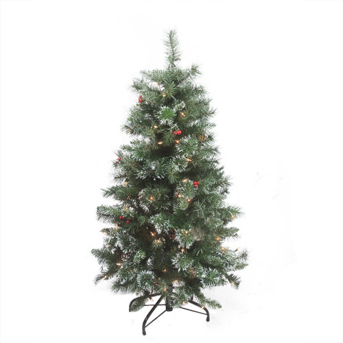 4' Pre-Lit Frosted Mixed Pine Medium Artificial Christmas Tree - Clear Lights - IMAGE 1