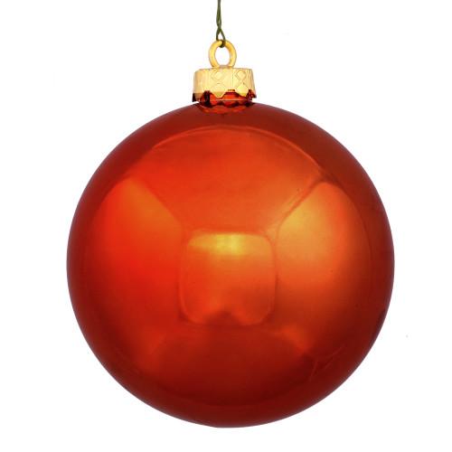 "Burnt Orange Shatterproof Shiny Christmas Ball Ornament 8"" (200mm) - IMAGE 1"