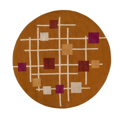 9.75' Sailing Breeze Away Orange and Red Round Wool Area Throw Rug - IMAGE 1