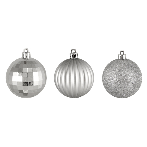 "100ct Silver Shatterproof 3-Finish Christmas Ball Ornaments 2.5"" (60mm) - IMAGE 1"
