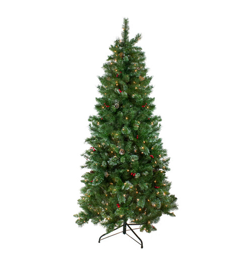 6.5' Pre-Lit Medium Mixed Pine and Iridescent Glitter Artificial Christmas Tree - Clear Lights - IMAGE 1