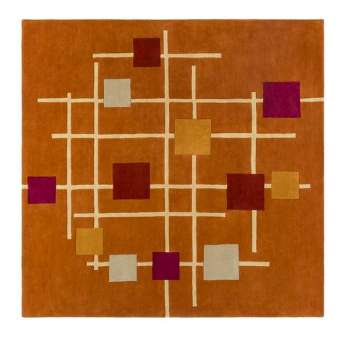 9.75' Sailing Breeze Away Orange and Red Square Wool Area Throw Rug - IMAGE 1