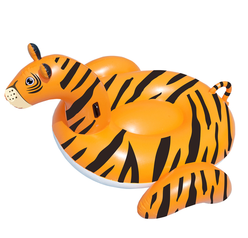 "64"" Inflatable Orange and Black Giant Tiger Swimming Pool Ride-On Lounge - IMAGE 1"